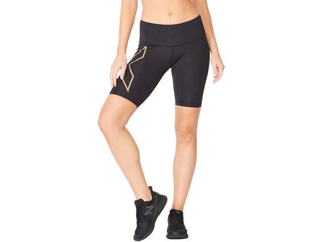 2XU Light Speed Mid-Rise Compression Shorts Women, black/gold reflective